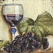 Red Wine And Grape Leaf Art Print