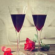 Red Wine And Roses Art Print