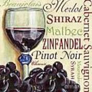Red Wine Text Art Print by Debbie DeWitt
