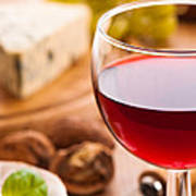 Red Wine With Cheese Art Print