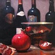 Red Wine With Pomegranates Art Print