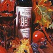 Red Wine With Red Pomergranates Art Print