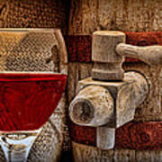 Red Wine With Tapped Keg Art Print