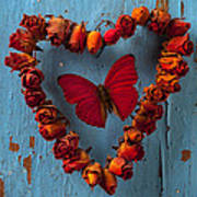 Red Wing Butterfly In Heart Art Print by Garry Gay