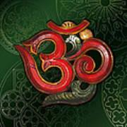 Red Wooden Om Green Mandala Art Print