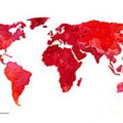 Red world map silhouette art print watercolor painting canvas print red world map silhouette art print watercolor painting poster gumiabroncs Choice Image