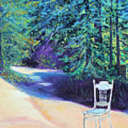 Redwood Path And White Chair Art Print