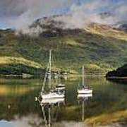 Reflected Yachts In Loch Leven Art Print