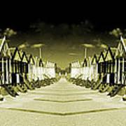 Reflected Yellow Huts  Art Print