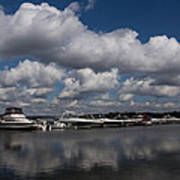 Reflecting On Boats And Clouds - Port Perry Marina Art Print