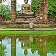 Reflecting Pool At Wat Mahathat In 13th Century Sukhothai Historical Park-thailand Art Print