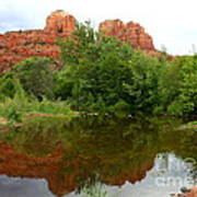 Reflection Of Cathedral Rock Art Print