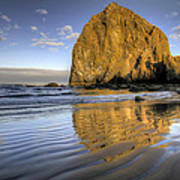 Reflection Of Haystack Rock At Cannon Beach 2 Art Print