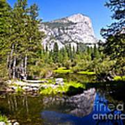 Reflection Of Mt Watkins In Mirror Lake Located In Yosemite National Park Art Print