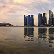 Reflection Of Singapore Skyline Panorama Art Print