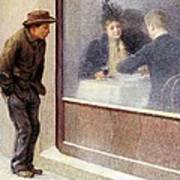 Reflections Of A Hungry Man Or Social Contrasts Art Print by Emilio Longoni