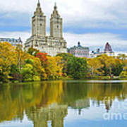 Reflections Of Autumn Central Park Lake  Art Print