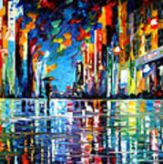 Reflections Of The Blue Rain - Palette Knife Oil Painting On Canvas By Leonid Afremov Art Print