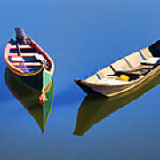 Reflections Of Two Canoes Art Print