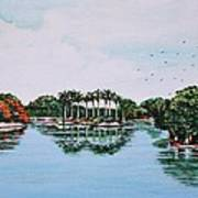 Reflections On Lal Bagh Lake Art Print