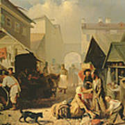 Refreshment Stall In St. Petersburg, 1858 Oil On Canvas Art Print