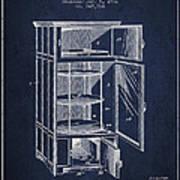 Refrigerator Patent From 1901 - Navy Blue Art Print