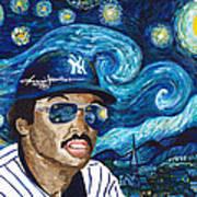 Reggie Jackson Starry Night Art Print
