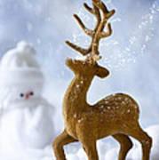 Reindeer In Snow Art Print
