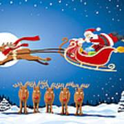 Reindeer Santa Sleigh Christmas Stunt Show Art Print by Frank Ramspott