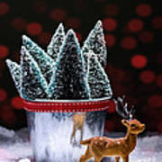 Reindeer With Christmas Trees Art Print