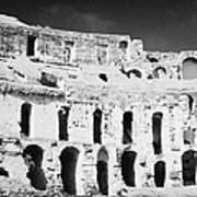 Remains Of Upper Tiers Looking Up From The Arena Floor Of The Old Roman Colloseum At El Jem Tunisia Art Print