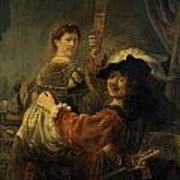 Rembrandt And Saskia In The Parable Of The Prodigal Son Art Print