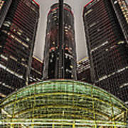 Renaissance Center Detroit Michigan Print by Nicholas  Grunas