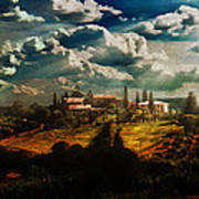 Renaissance Landscape With Power Lines Art Print