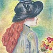 Renoirs' Painting Of Girl Holding A Bouquet In Pastels Art Print