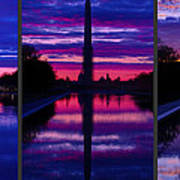 Repairing The Monument Triptych Art Print by Metro DC Photography