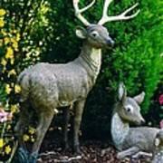Replica Of Deer Family Art Print