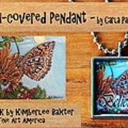 Resin Pendant With Butterfly And Sky Art Print