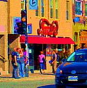 Restaurant Amir Internet Cafe Fast Food Plateau Montreal City Street Scene Art Carole Spandau  Art Print