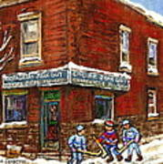 Restaurant Epicerie Jean Guy Pointe St. Charles Montreal Art Verdun Winter Scenes Hockey Paintings   Art Print