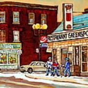 Restaurant Greenspot And Coin Vert Boutique Fleuriste Montreal Winter Street Hockey Scenes Art Print