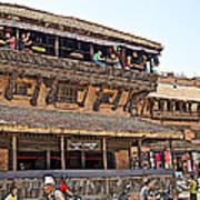 Restaurant In Bhaktapur Durbar Square In Bhaktapur-nepal Art Print