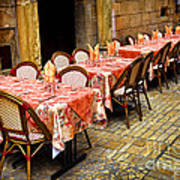 Restaurant Patio In France Print by Elena Elisseeva