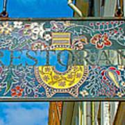 Restaurant Sign In Old Town Tallinn-estonia Art Print
