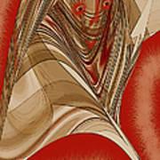 Resting Woman - Portrait In Red Art Print