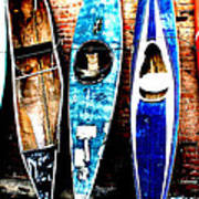 retired Kayaks Art Print by Rebecca Adams