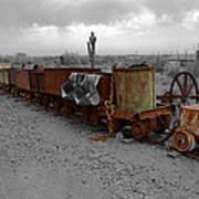 Retired Mining Ore Cars Art Print