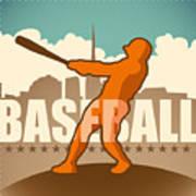 Retro Baseball Poster. Vector Art Print