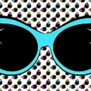 Retro Blue Cat Sunglasses Art Print