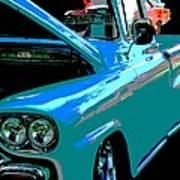Retro Blue Truck Art Print